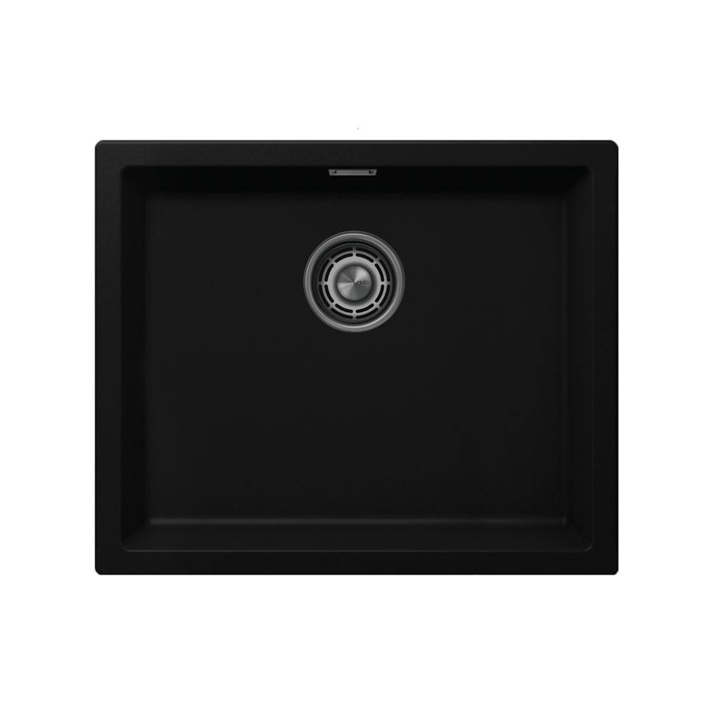 黑色 厨房水槽 - Nivito CU-500-GR-BL 拉絲鋼 過濾器∕廢物箱顏色