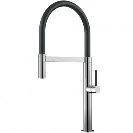 厨房水龙头 可拉出式软管 / 抛光/黑色 - Nivito SH-210